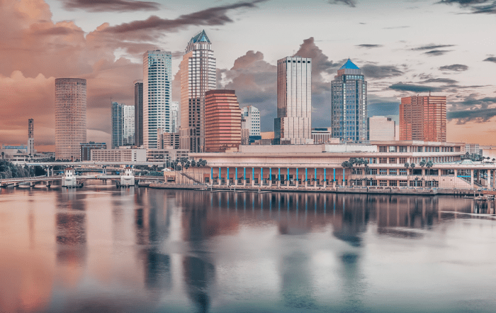 tampa city skyline of convention center