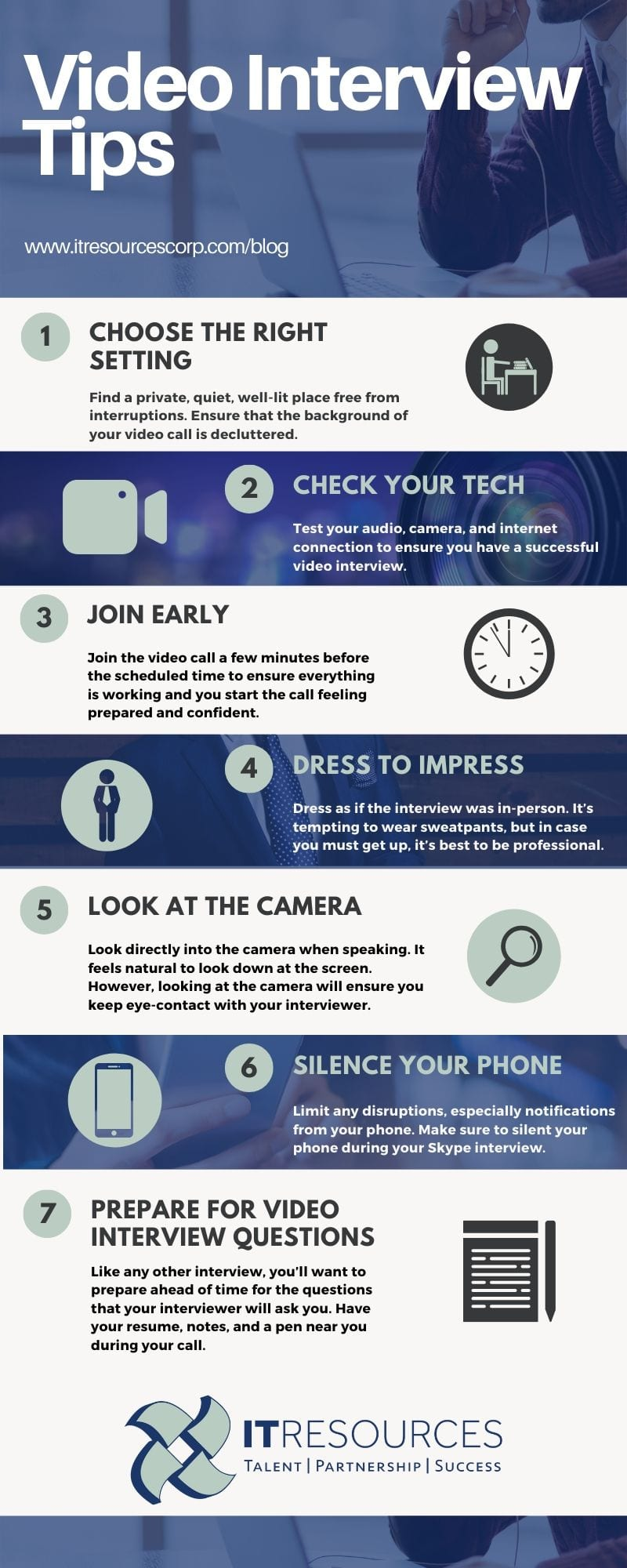 how to prepare for video interviews infographic with tips on what to do before a video interview