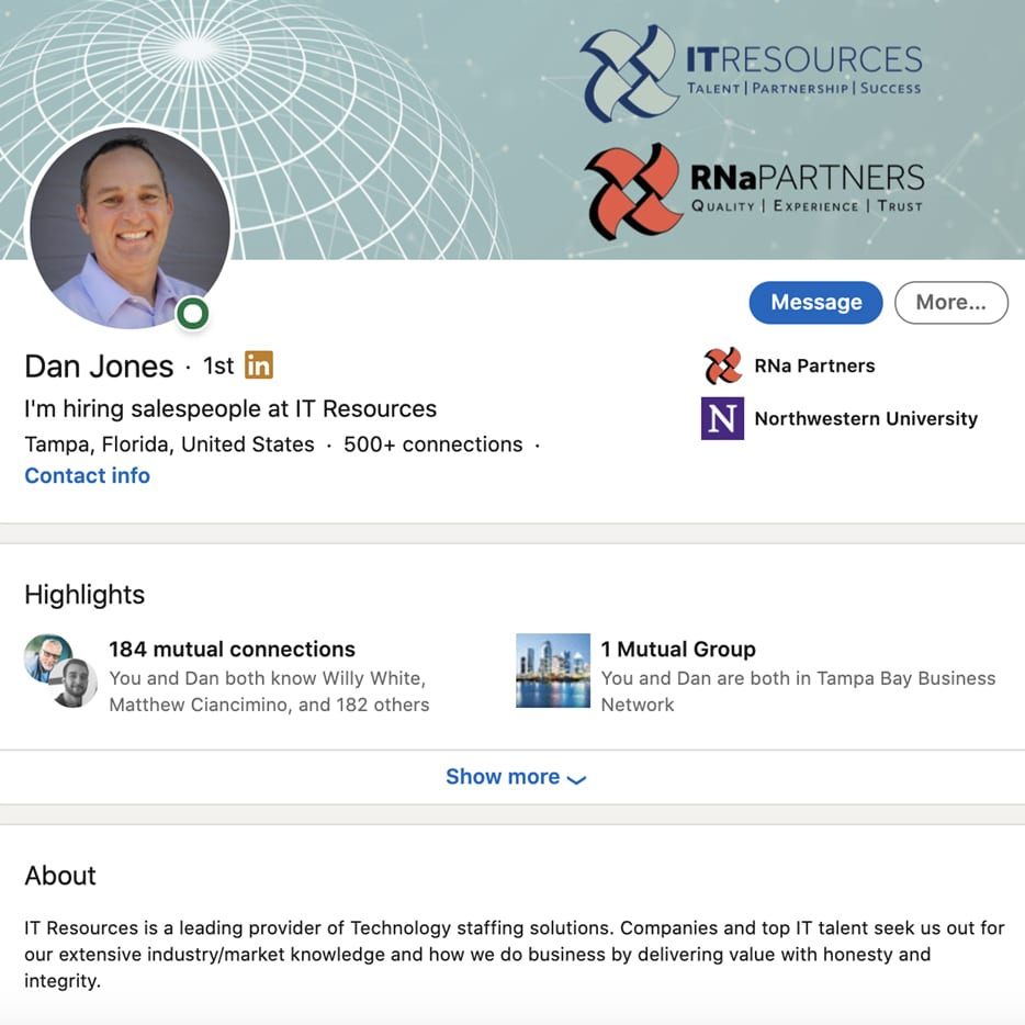 linkedin profile example of Dan Jones of IT Resources with background image
