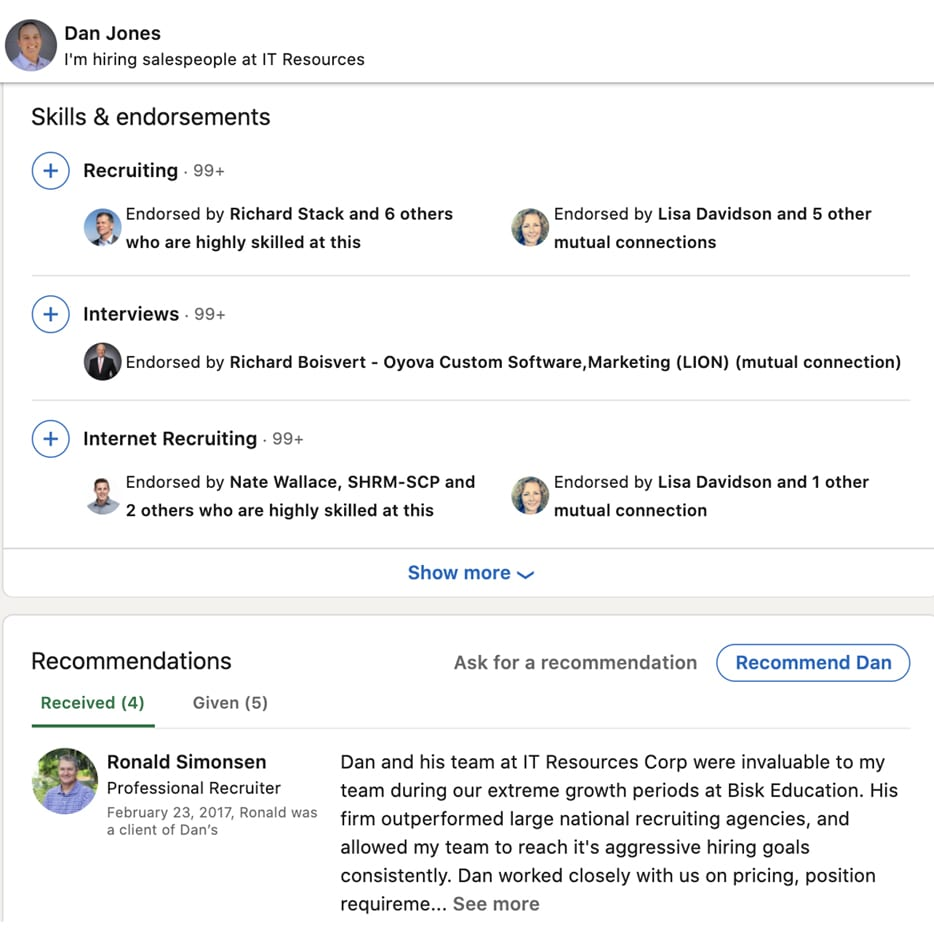 best linkedin profile tips for endorsements and recommendations