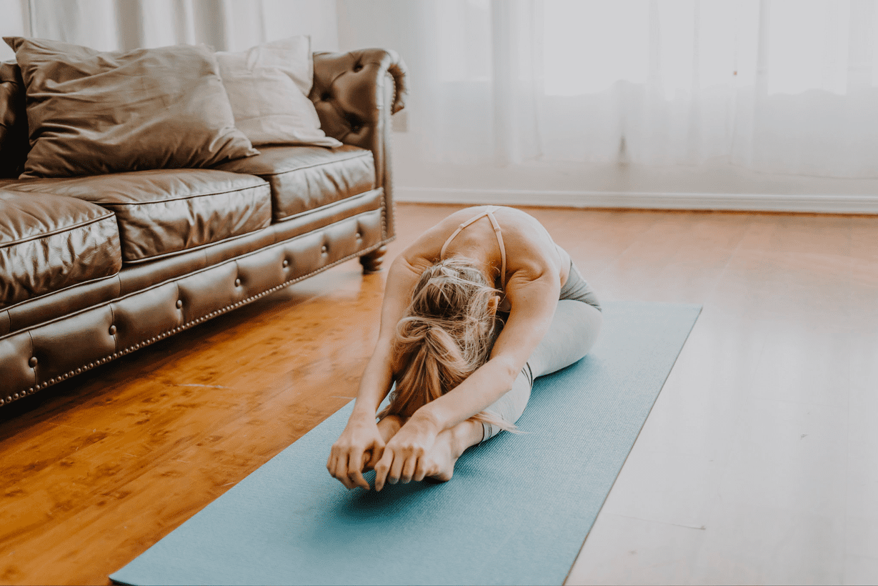 detoxed woman who used therasage doing yoga